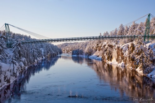 french river after snowfall on christmas day