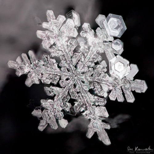 snowflake photo with multiple crystals up close