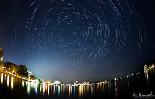 star trail photo over a city