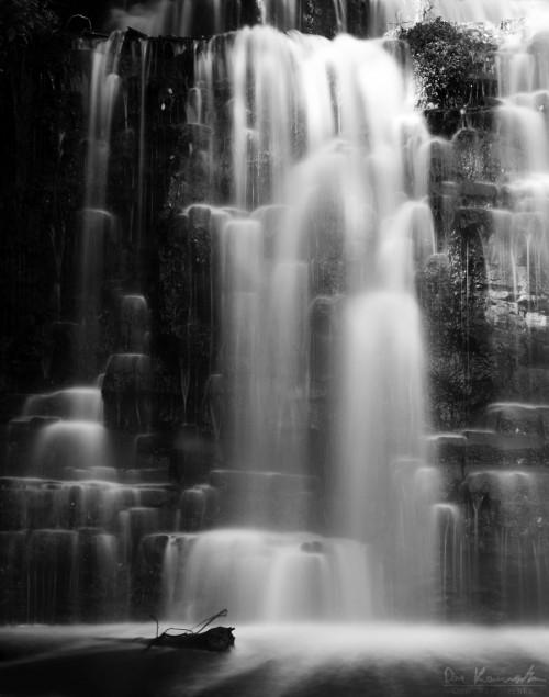 black & white cascade tall waterfall