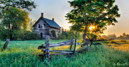 old farmhouse at sunrise