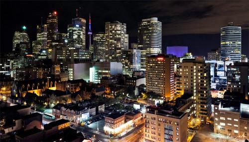toronto ontario at night, wide angle cityscape