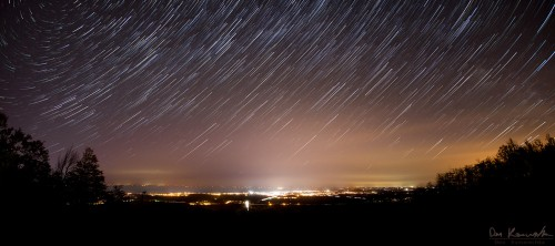 star trail image overlooking the city of Collingwood Ontario