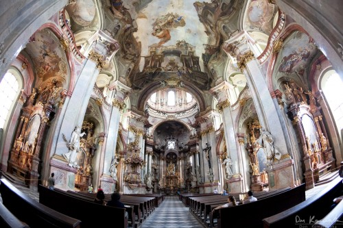 a fisheye lens view inside a european cathedral