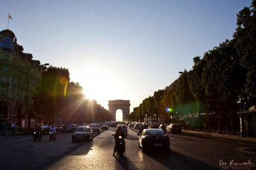 street view of Paris at sunset