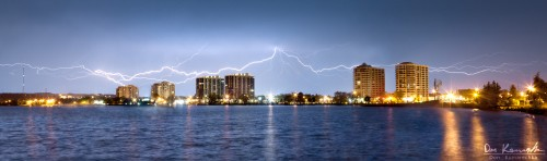 sheet lightning over the city of Barrie, Ontario