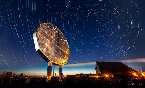 Star trail landscape with the Big Nickel in Sudbury Ontario